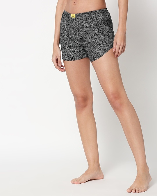 Shop White Vines Women's Printed Boxers-Front