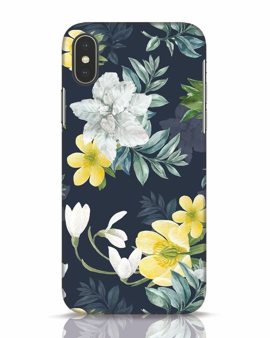 Shop White Yellow Floral iPhone X Mobile Cover-Front