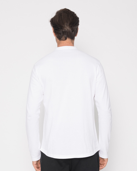 Shop White Zip Henley Full Sleeve Pique T-Shirt-Full