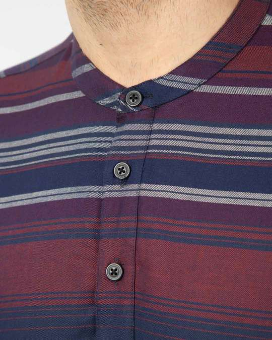 Shop Wide Wine Stripe Mandarin Collar Henley Full Sleeve Shirt