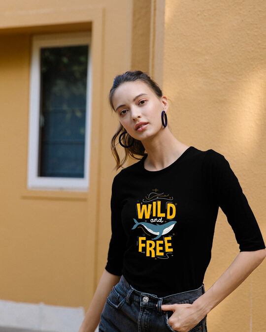 Shop Wild And Free Nautical Round Neck 3/4 Sleeve T-Shirts Black-Front