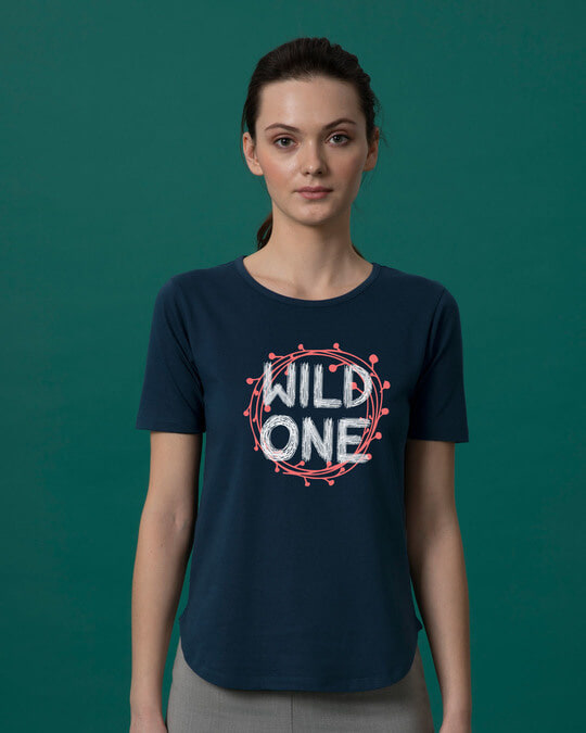Shop Wild One Typography Basic Round Hem T-Shirt-Front