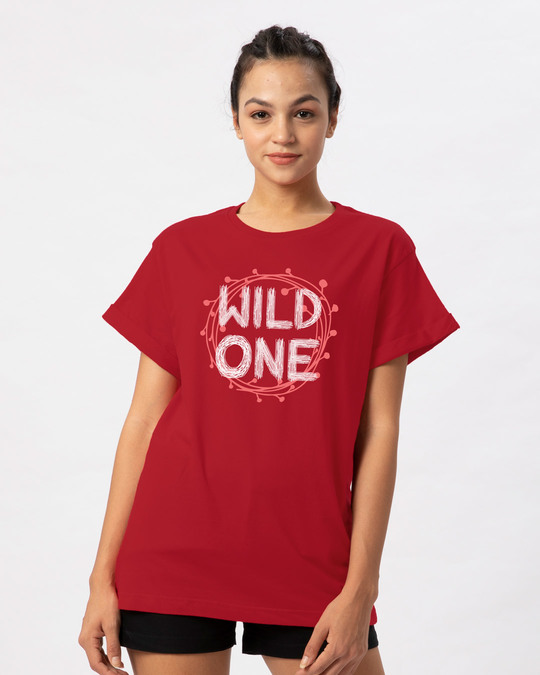 Shop Wild One Typography Boyfriend T-Shirt-Front