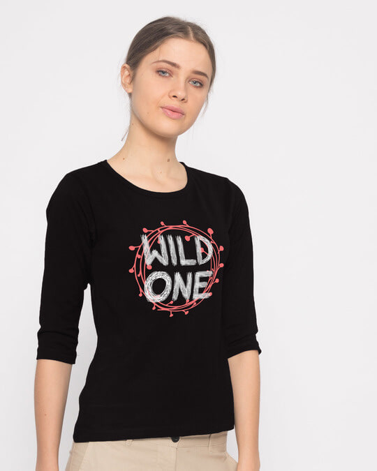 Shop Wild One Typography Round Neck 3/4th Sleeve T-Shirt-Back