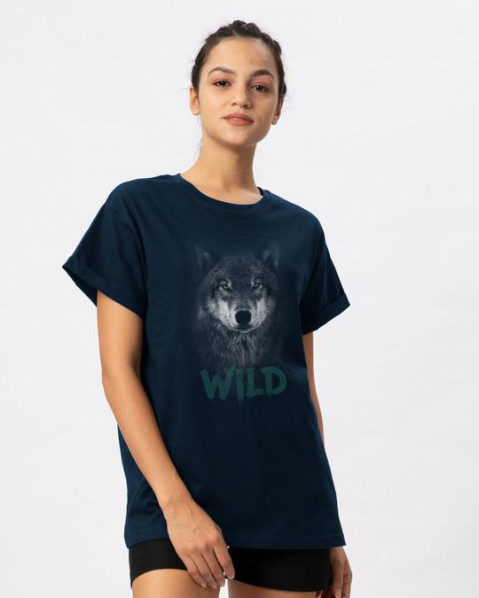 Shop Wild Wolf Boyfriend T-Shirt-Back