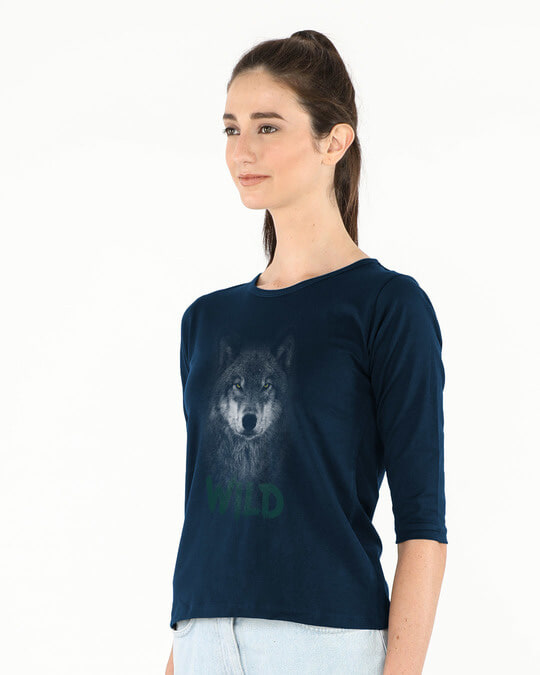 Shop Wild Wolf Round Neck 3/4th Sleeve T-Shirt-Back