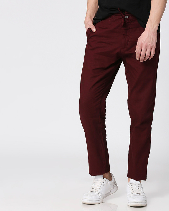Shop Wine Red Casual Cotton Trouser-Front