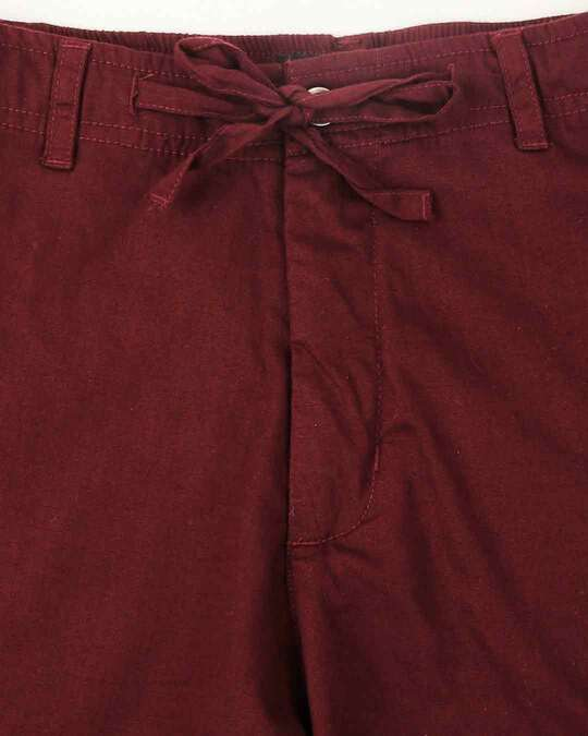 Shop Wine Red Casual Cotton Trouser