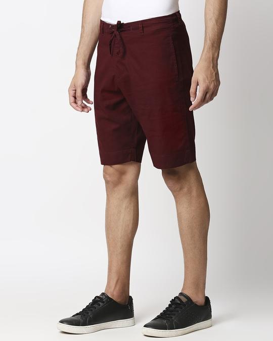Shop Wine Red Comfort Shorts-Back