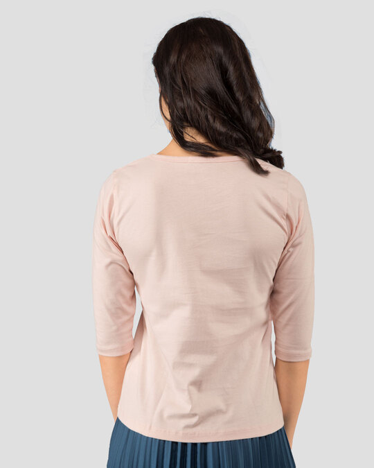 Shop Wink New Round Neck 3/4 Sleeve T-Shirts  Baby Pink-Back