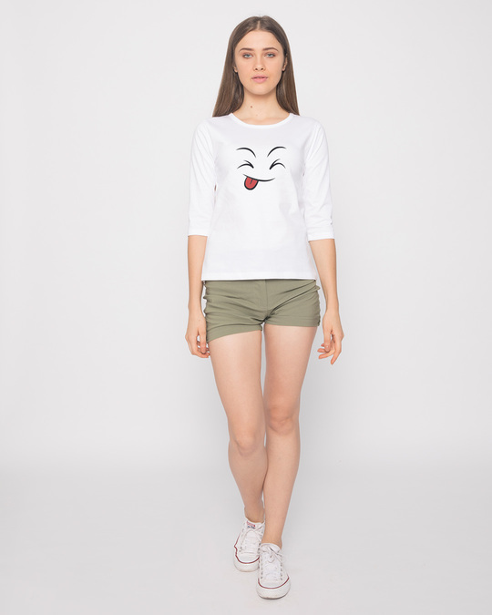 Shop Winky Smiley Round Neck 3/4th Sleeve T-Shirt