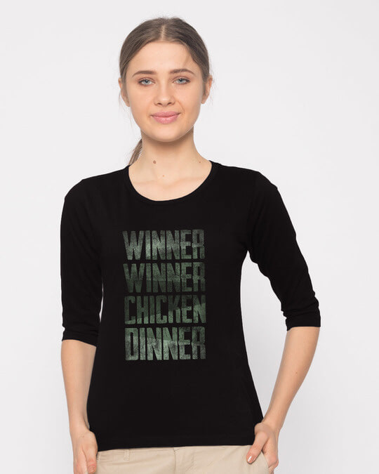 Shop Winner Chicken Round Neck 3/4th Sleeve T-Shirt-Front