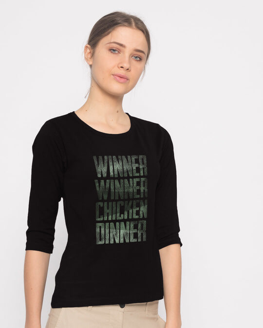 Shop Winner Chicken Round Neck 3/4th Sleeve T-Shirt-Back