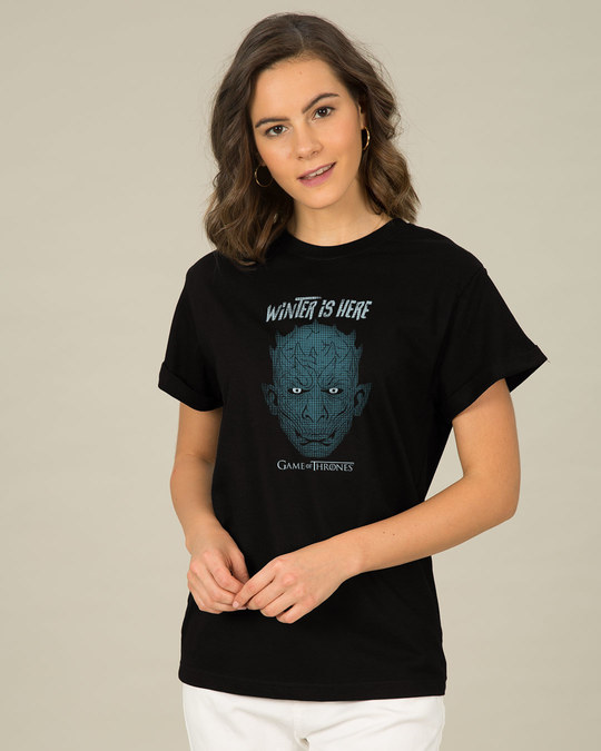 Shop Winter In Winterfell Boyfriend T-Shirt (GTL)-Back