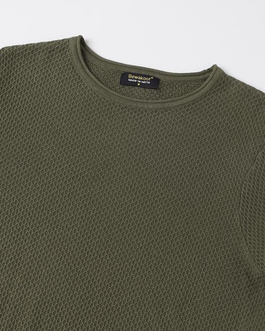 Shop Winter Moss Full Sleeve Flat Knit Sweater
