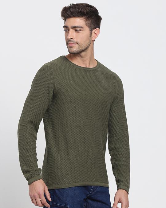 Shop Winter Moss Full Sleeve Flat Knit Sweater-Back