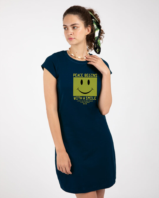Shop With A Smile Cap Sleeve Printed T-Shirt Dress Navy Blue-Back