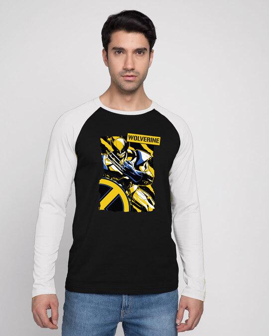 Shop Wolverine Poster Full Sleeve Raglan T-Shirt Black - White (XML)-Back