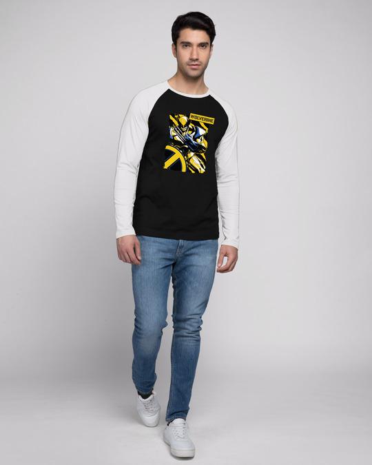 Shop Wolverine Poster Full Sleeve Raglan T-Shirt Black - White (XML)-Full