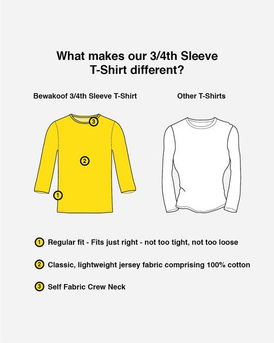 Shop Mickey Strip Color Round Neck 3/4 Sleeve T-Shirts (DL) Navy Blue-Design