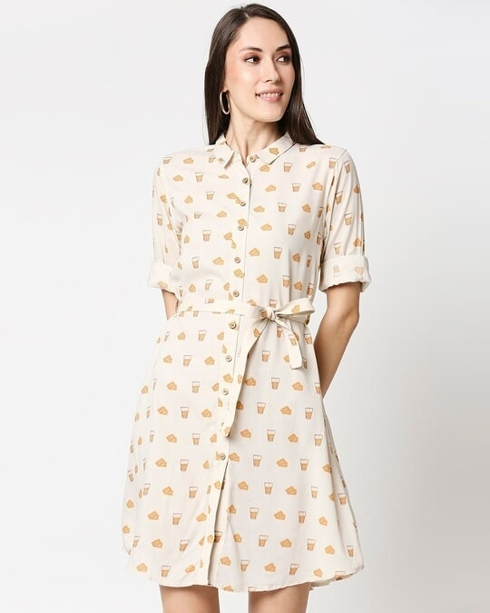 Shop Women All Over Printed Button Down Beige Dress-Back