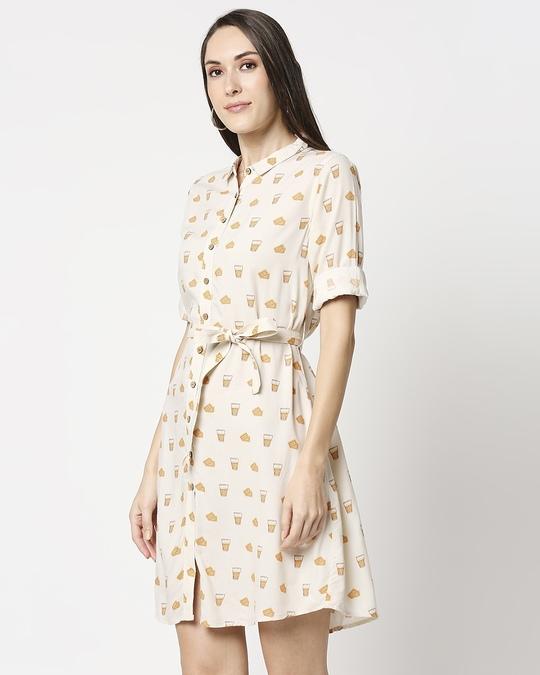 Shop Women All Over Printed Button Down Beige Dress-Design