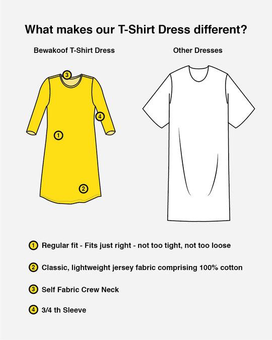 Shop Stay Weird Tweety Boat Neck 3/4th Sleeve T-Shirt Dress (LTL) Bold Red-Design