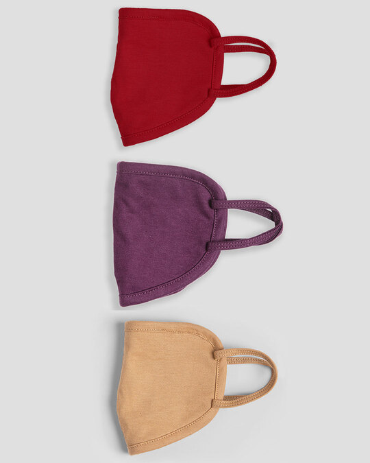Shop Women's 2-Layer Everyday Protective mask - Pack of 3 (Bold Red-Deep Purple-Dusty Beige)-Design