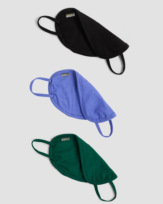 Shop Women's 2-Layer Everyday Protective mask - Pack of 3 (Jet Black-Blue Haze- Dark Forest Green)-Full