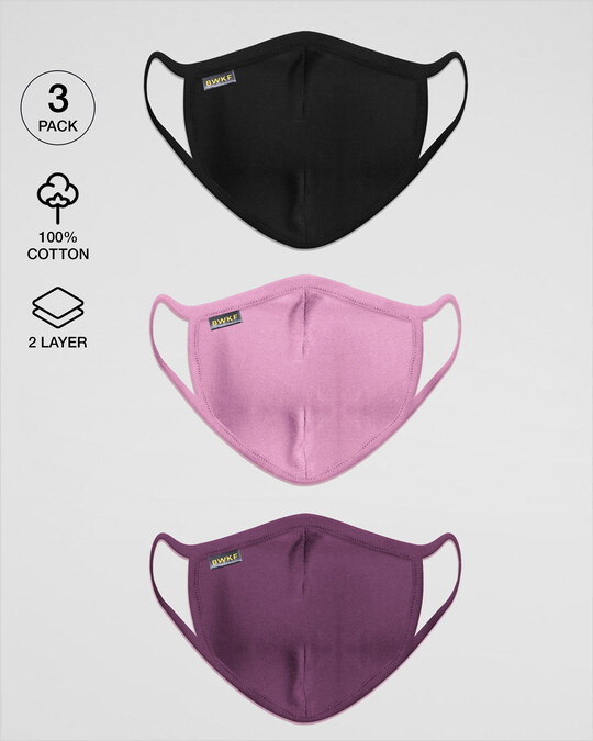 Shop Women's 2-Layer Everyday Protective mask - Pack of 3 (Jet Black-Frosty Pink-Deep Purple)-Front