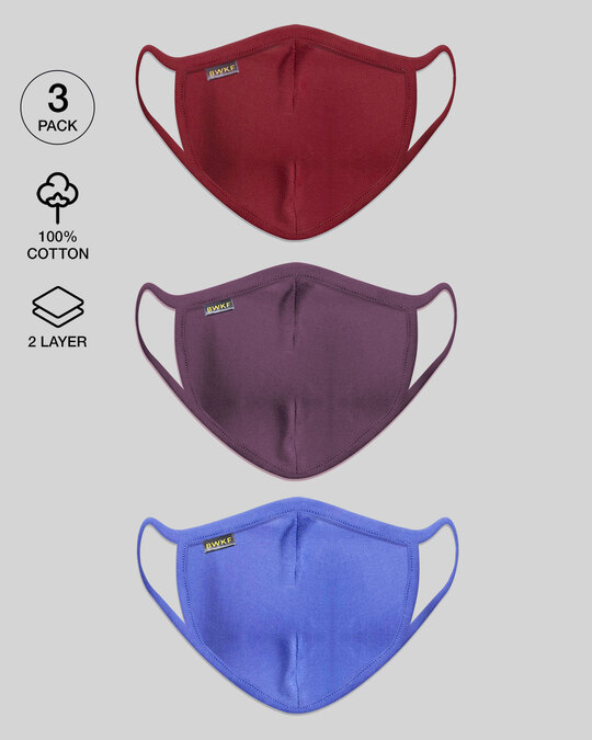 Shop Women's 2-Layer Everyday Protective mask - Pack of 3 (Scarlet Red-Deep Purple-Blue Haze)-Front