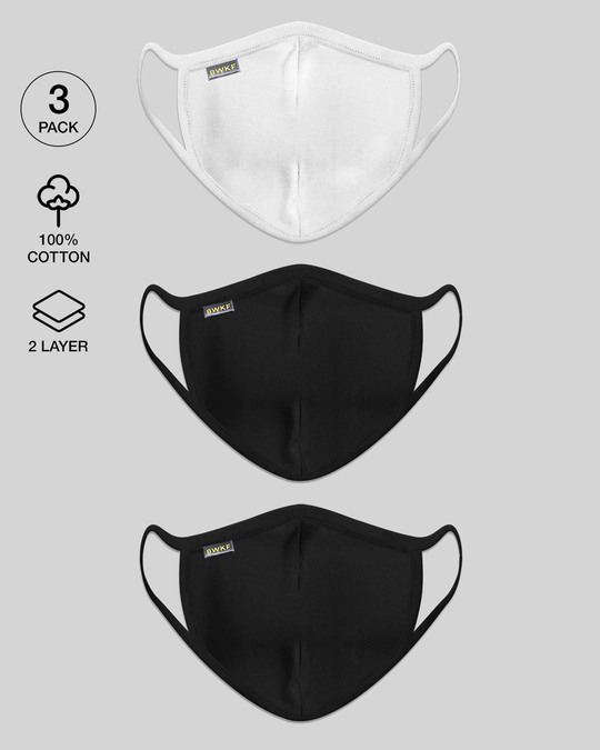 Shop Women's 2-Layer Everyday Protective mask - Pack of 3 (White-Jet Black-Black)-Front