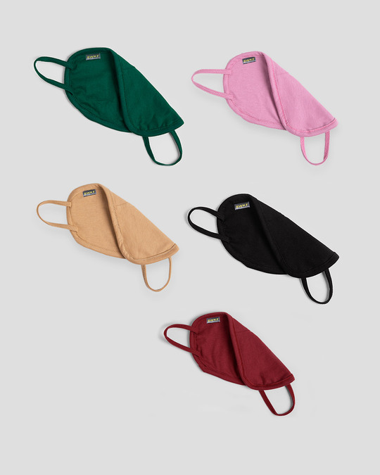 Shop Women's 2-Layer Everyday Protective mask - Pack of 5 (Dark Forest Green-Frosty Pink-Dusty Beige-Jet Black-Scarlet Red)-Full