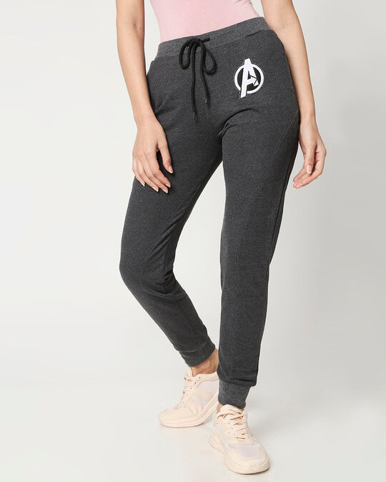 Shop Women's Anthra Melange Twisted Jogger-Front