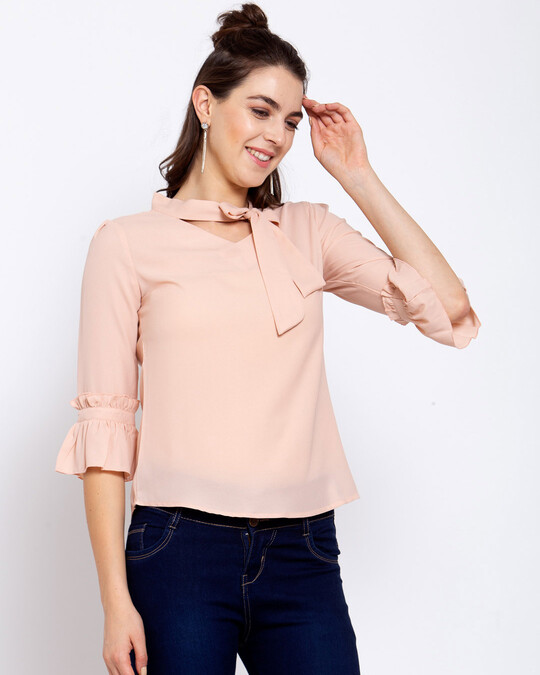 Shop Women's Beige Top with Flared Sleeve