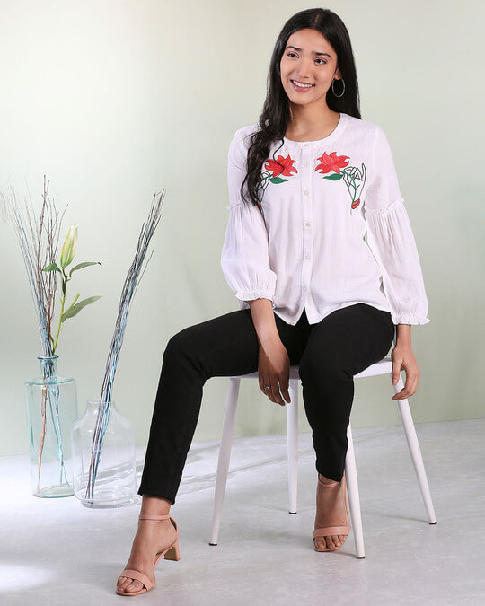 Shop Women's Bishop Sleeves Embroiderred White Top-Front