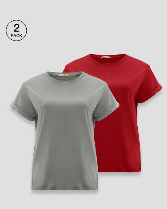 Shop Women's Boyfriend Plain T-Shirt - Pack of 2 Meteor Grey - Bold Red-Front