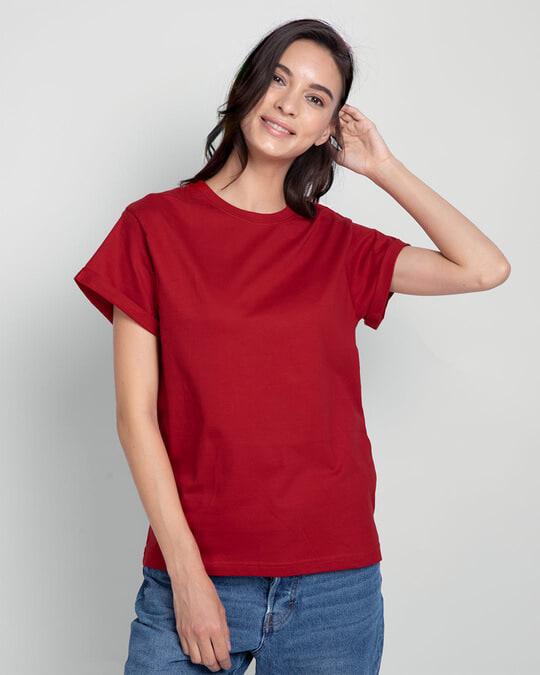 Shop Women's Boyfriend Plain T-Shirt - Pack of 2 Meteor Grey - Bold Red-Design