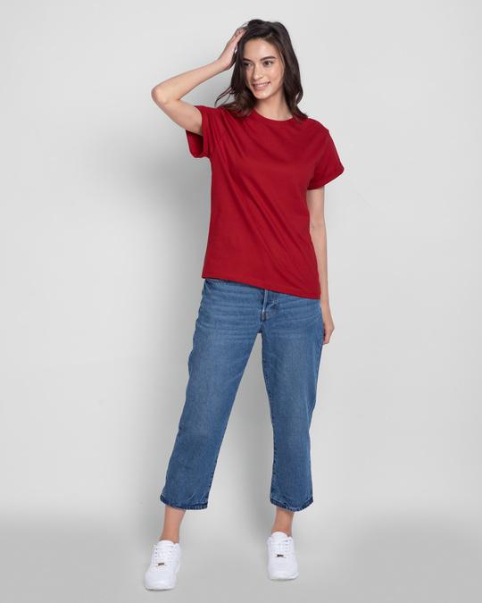 Shop Women's Boyfriend T-Shirt-Combo-Red-Red
