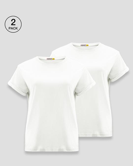 Shop Women's Boyfriend T-Shirt-Combo-White-White-Front