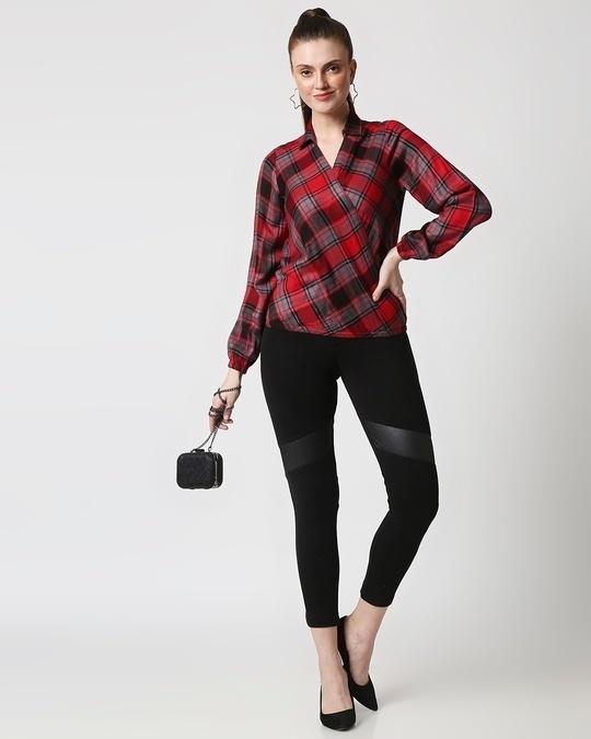 Shop Womens Checks Overlap Shirt Top