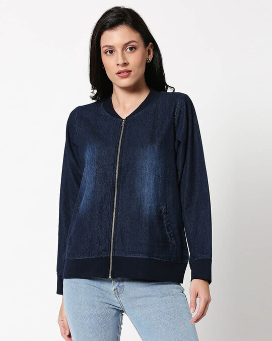 Shop Dark Navy Denim Bomber Jacket-Back