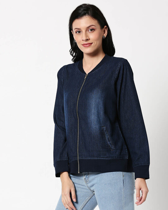 Shop Dark Navy Denim Bomber Jacket-Design