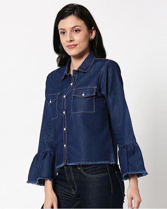 Shop Dark Blue Raw Edge Denim Shacket-Design