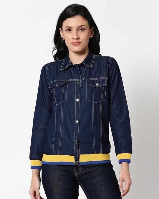 Shop Savage Varsity Denim Jacket-Back