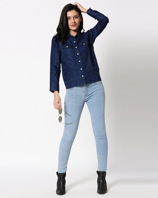 Shop Dark Blue Denim Shacket
