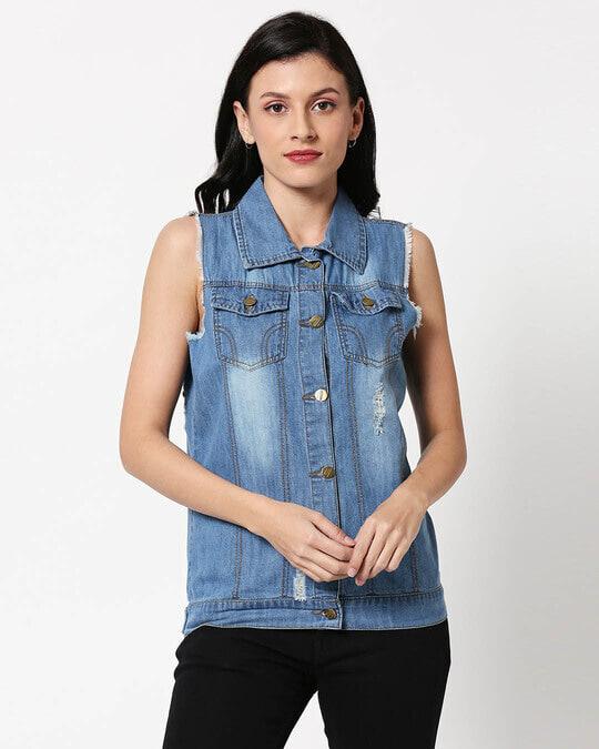 Shop Sleeveless Ice Blue Denim Jacket-Back