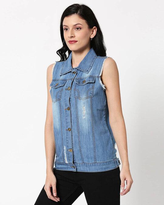 Shop Sleeveless Ice Blue Denim Jacket-Design