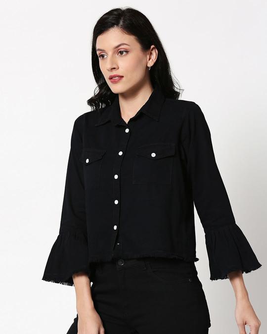 Shop Black Raw Edge Denim Shacket-Design