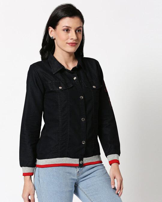 Shop Varsity Black Denim Jacket-Full